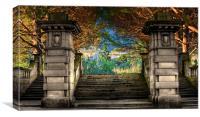 Elegant sandstone staircase entrance to park, Canvas Print
