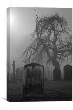 Spooky old cemetery on a foggy day, Canvas Print
