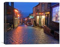 Main Street in Haworth, Yorkshire, UK, at Christma, Canvas Print