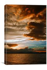 Mammatus clouds at sunset ahead of violent thunder, Canvas Print