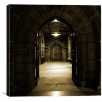 Arched doors in ancient building, Canvas Print