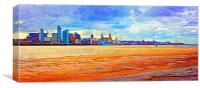 A digitally constructed painting of Liverpool wate, Canvas Print