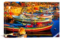 A digitally constructed painting of small fishing , Canvas Print