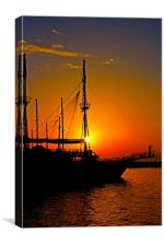 a ship in silhouette at sunset , Canvas Print