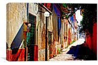 Turkish village street scene, Canvas Print