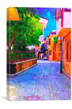 cobbled back streets of Kaleici in Antalya Turkey, Canvas Print
