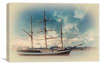 A tall ship on the river mersey, Canvas Print