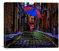 colorful umbrella in a dark back street alley, Canvas Print