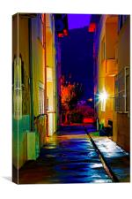 Digital painting of an alley at nightime, Canvas Print