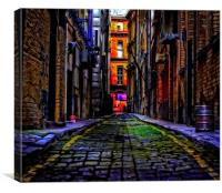 cobbled back streets of inner city Liverpool, Canvas Print