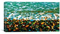 Colorful Pebbles on the seashore , Canvas Print