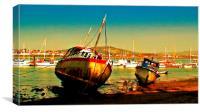 Fishing boats at low tide , Canvas Print
