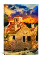 A digital painting of a View of Kaleici Antalya Tu, Canvas Print