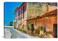 A digital painting of a Rundown Turkish village st, Canvas Print