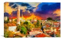 Image in painting style of a View of Kaleici Antal, Canvas Print