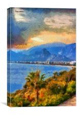 A digital painting of a View of Antalya Turkey, Canvas Print