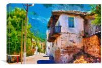 Old Turkish village streets digital painting, Canvas Print