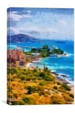 View of Kusadasi Turkey digital painting, Canvas Print