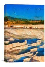Image in painting style of a View of Pamukkale Tur, Canvas Print