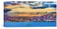 A digital painting of Kusadasi harbor Turkey, Canvas Print