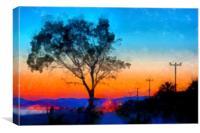 Sunrise on the sea front digital painting, Canvas Print