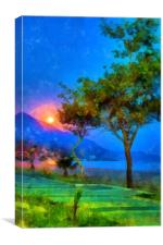 Image in painting style of the seafront at dusk wi, Canvas Print
