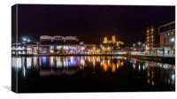Lincoln and the Brayford Pool at night, Canvas Print