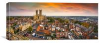 Lincoln Cathedral as the sun is setting, Canvas Print