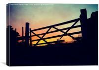 Broken gate at sunset, Canvas Print