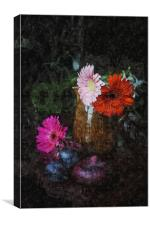 Still life with figs, onions and gerberas, Canvas Print