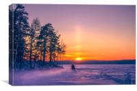 The snow mobile race toward the Sun pillar, Canvas Print