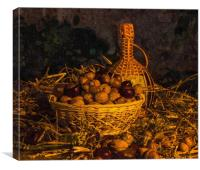 Still-life with nuts and wine, Canvas Print