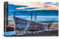 Old fishing boat with net, Canvas Print