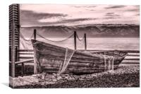 Old rusty boat with net (sepia), Canvas Print
