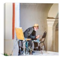 Old painter, Canvas Print