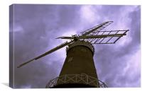 Bircham Windmill and Stormy Skies, Canvas Print