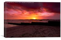 Hamworthy Beach Sunset, Canvas Print