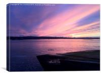 Sandbanks Empty Chain Ferry Sunset, Canvas Print