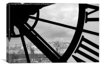 Paris through the clock window of the Musee d'Ors, Canvas Print
