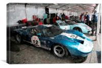 Ford GT40's in the Classic LeMans paddock, Canvas Print