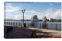 Scenic view of Cardiff Bay, Canvas Print