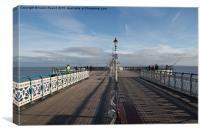 People fishing on Penarth Pier, Wales, UK, Canvas Print
