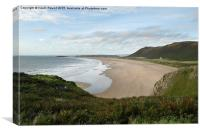 Rhossili Beach on the Gower peninsula in Wales., Canvas Print