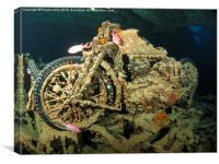 Underwater motor bike cycle Thistlegorm Egypt, Canvas Print