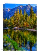 Reflections on the Merced river, Yosemite National, Canvas Print