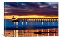 Venoco Ellwood Pier, in Bacara beach CA at sunset, Canvas Print