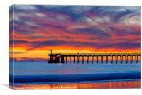 Bacara (Haskell's) Beach and pier, Santa Barbara, Canvas Print