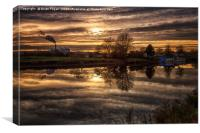 Golden sky over the Trent, Canvas Print