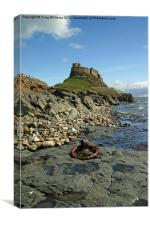 Lindisfarne Castle from Beach, Canvas Print
