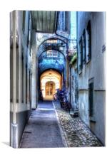 Walk way in the old town of Bern, Switzerland, Canvas Print
